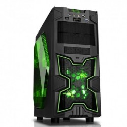 "CASE ITEK M.TOWER GAMING ""NINJA"", USB3, 12cm Green fan, ODD/HDD kit, Trasp Wind, Card Reader - NO ALIM. Nero"
