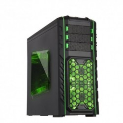 "CASE ITEK M.TOWER GAMING ""IRON SOLDIER"",  USB3, 2x12cm Green fan, ODD/HDD kit, Trasp Wind, C. Reader, Docking - NO ALIM., BK"